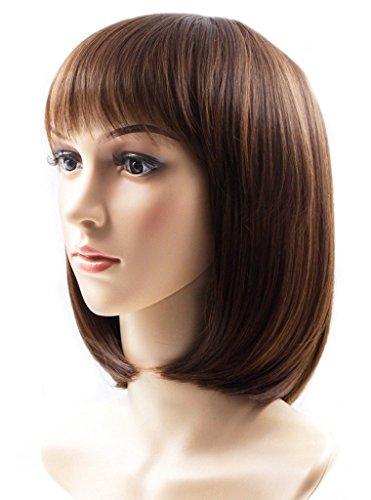 Rabbitgoo Short Bob Wig Straight Hair Wigs Natural As Real Hair Cosplay Wigs Neat Bangs Wigs 13.3