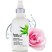 InstaNatural Rose Water Facial Toner for Face, Hair, Body - Organic, Natural Anti Aging Mist - Eau Fraiche - Alcohol Free - Hydrating Primer & Setting Spray for Pore Minimizing & Tightening - 4 OZ
