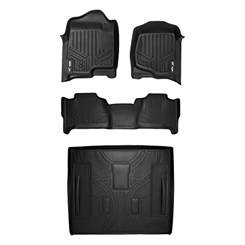 SMARTLINER Floor Mats (2 Rows) and Cargo Liner Behind 2nd Row Set Black for 2007-2014 Cadillac Escalade (No Hybrid Models)