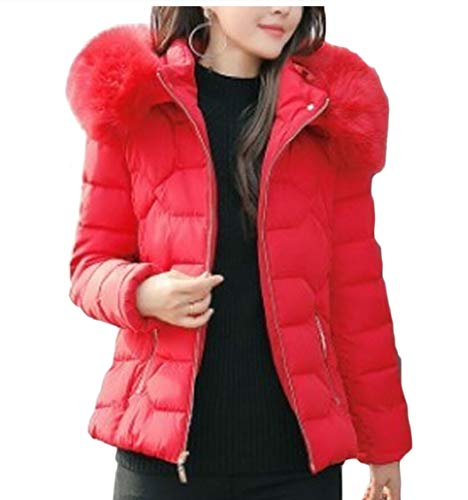 with Winter Warm Thickened Jackets Fur Womens Down Red Gocgt Faux Hood PqZRwO