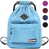 Drawstring Backpack String Bag Sackpack Cinch Water Resistant Nylon for Gym Shopping Sport Yoga by WANDF (Blue 6030 with shoe pocket)