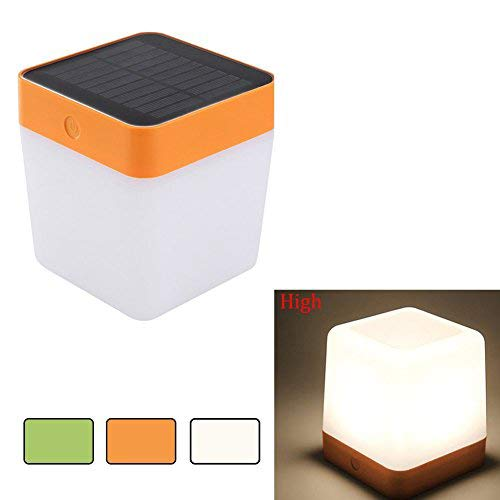 LUTEC Indoor/Outdoor Solar LED Light Rechargeable Table Lamp Emergency Lighting Touch Sensitive Control Garden Bedroom Lamp Camping Outage Led Table Cube Night Light Home Decorative LED Light