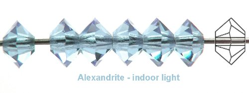 3x5mm Alexandrite, Czech MC Spacer Bead (Squished Bicone), 36 pieces