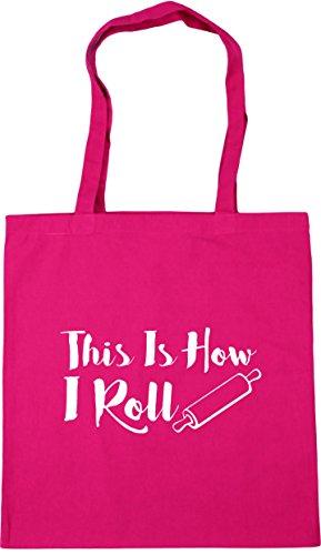HippoWarehouse This Is How I Roll Tote Shopping Gym Beach Bag 42cm x38cm, 10 litres Fuchsia