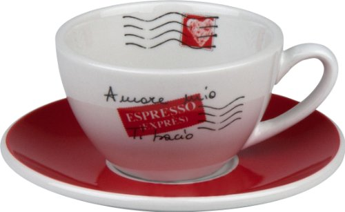 Konitz Coffee Bar Amore Mio No.3 Cafe Creme Cups/Saucers, Set of 4