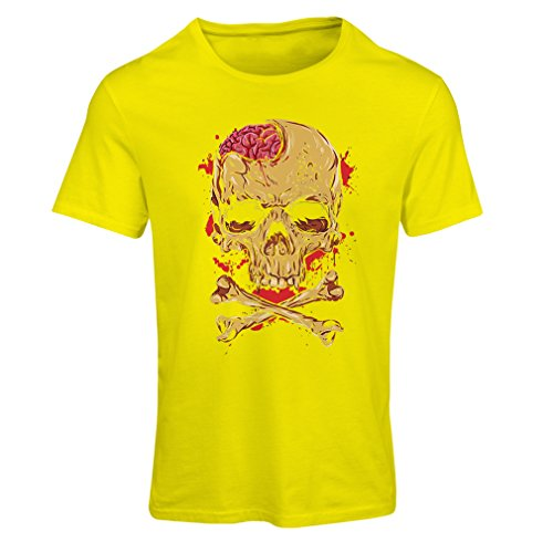 T Shirts for Women Skull and Bones - Vintage, 80s, Rock and Roll Bands (X-Large Yellow Multi Color)]()