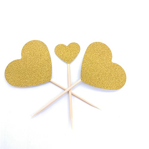 Hemarty Heart Cupcake Toppers Twinkle Gold Decor DIY Glitter Birthday Cake Decoration Picks Wedding Bridal Baby Shower Party Suplliers 40pc (Heart Cake Gold)