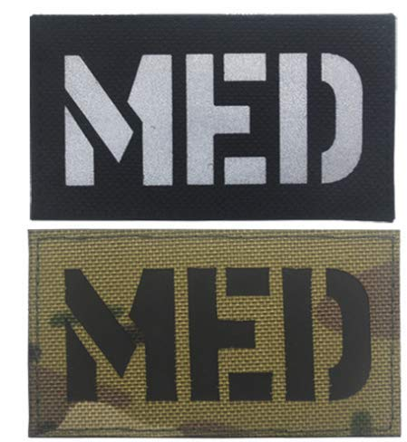 2pcs MED Medic EMT EMS Infrared Reflective IR Armband Military Patch Fabric Embroidered Badges Patch Tactical Stickers for Clothes with Hook & Loop (2pcs) ()