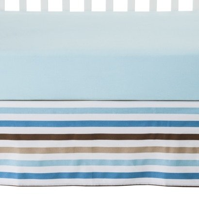 Bacati Mod Toddler/Crib Skirt, Blue/Diamonds/Aqua/Chocolate Stripes