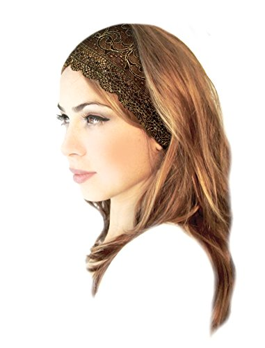 Stunning Lace Head-band Super Wide Floral in Black with Gold Lurex! Handmade ShariRose (Black (Lace Band)