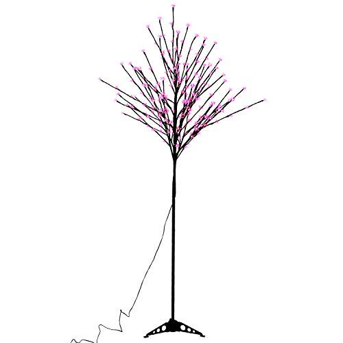 Kinbor Basic 6 Feet Cherry Blossom Tree, 208 LED Lights, Decoration for Home, Wedding, Festival, Party, Christmas (Pink) ()