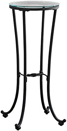 Monarch Specialties Hammered Metal with Tempered Glass Accent Table, 12 L x 12 W x 28 H, Black