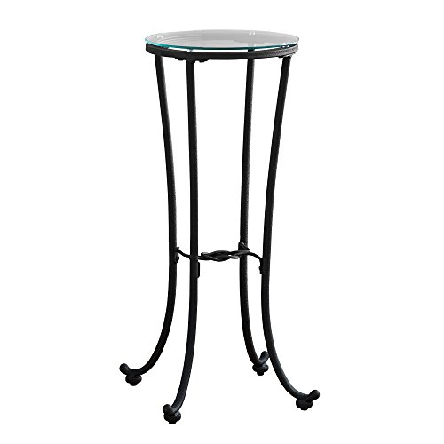 Monarch Specialties I 3332 Hammered Metal with Tempered Glass Accent Table, 12