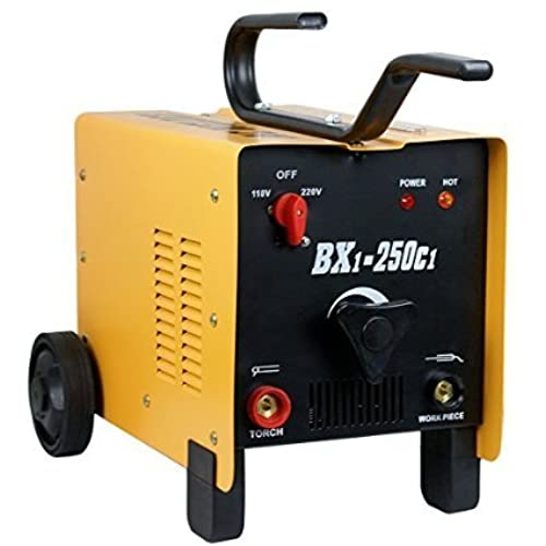Zeny ARC Welder 250AMP Rated Input Voltage, 110V/220V ARC Welding Machine, Dual Mode, Fan Cooled Single Phase, 2 Wheel, Yellow BXI-250C1