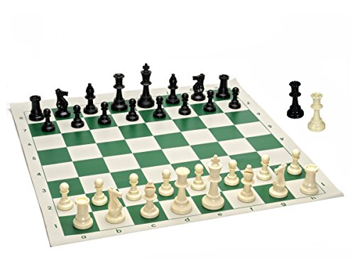 Tournament Staunton Chessmen Set - Best Value Tournament Chess Set - 90% Plastic Filled Chess Pieces and Green Roll-up Vinyl Chess Board
