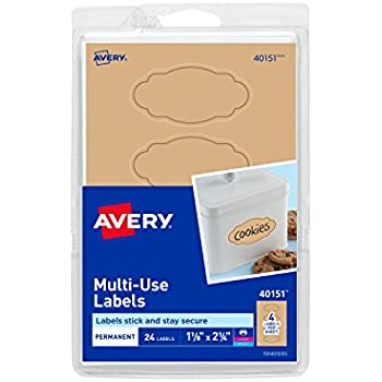 amazon com avery multi use labels kraft brown oval scroll 1 1 8
