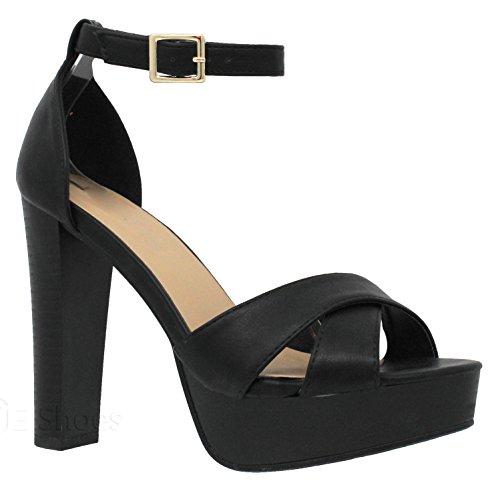 MVE Shoes Women's Platform Ankle Strap High Heel-Formal Party Block Dress Heel-Open Toe Heeled Sandal, Black 10 ()