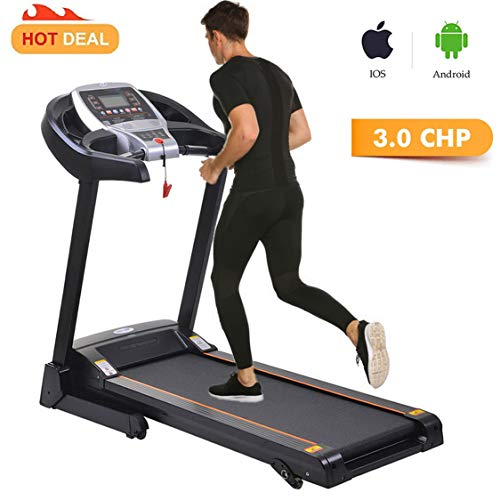 Belt Walking Treadmill Trainer (Miageek Fitness Folding Electric Jogging Treadmill with Smartphone APP Control, Walking Running Exercise Machine Incline Trainer Equipment Easy Assembly[US Stock])