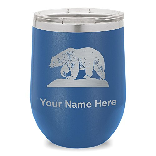 Wine Glass Tumbler, Polar Bear, Personalized Engraving Included (Dark Blue)