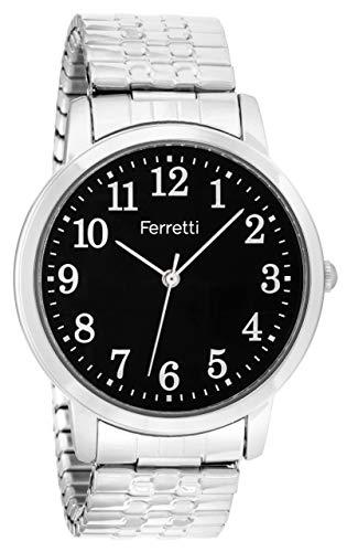 Expansion Bracelet Watch - Ferretti Unisex | Classic Silver-Tone Expansion Bracelet Big Number Watch | FT16103