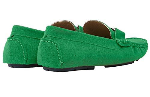 Santimon Mens Avslappnade Guldspänne Läder Slip-on Dagdrivaren Bilkörning Skor Moccasin Skor Grönt