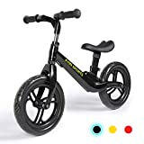 A11N Lightweight Balance Bike for Toddlers and Kids, Age 18 Months to 6 Years, 4.65lbs Magnesium Alloy Pre Bike with Flat Free EVA Tire, Adjustable Seat and Handlebar, Black/Red/Yellow
