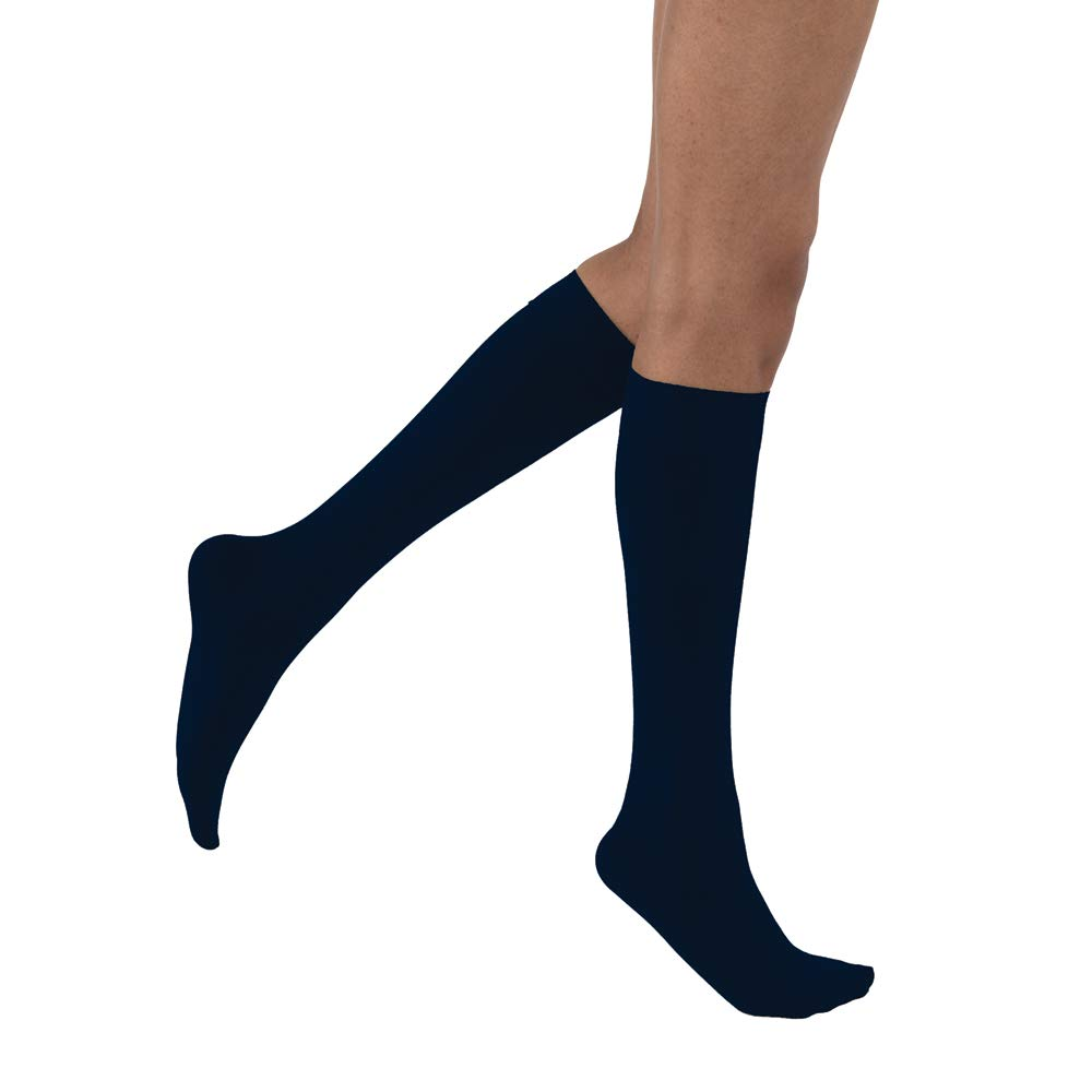 JOBST Opaque Knee High 15-20 mmHg Compression Stockings, Closed Toe, Medium, Midnight Navy by JOBST