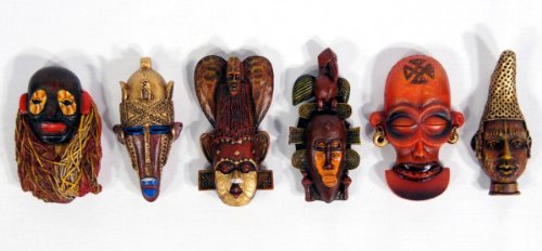 (Handpainted Poly Stone African Mask Arts Assorted Magnet (Set of 6 B) )