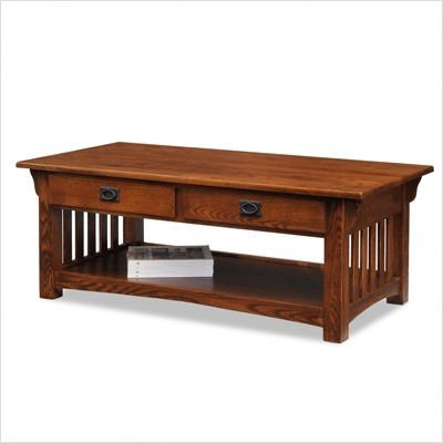 Leick Furniture Mission 2 Drawer Coffee Table, Medium Oak