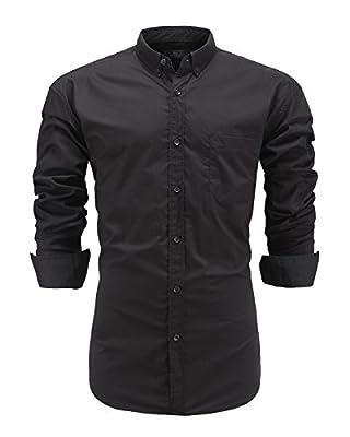 Emiqude Men's Slim Fit 100% Cotton Long Sleeve Solid Button Down Dress Shirt