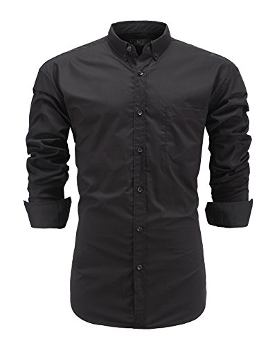 Emiqude Mens 100% Cotton Slim Fit Long Sleeve Solid Button Down Dress Shirt