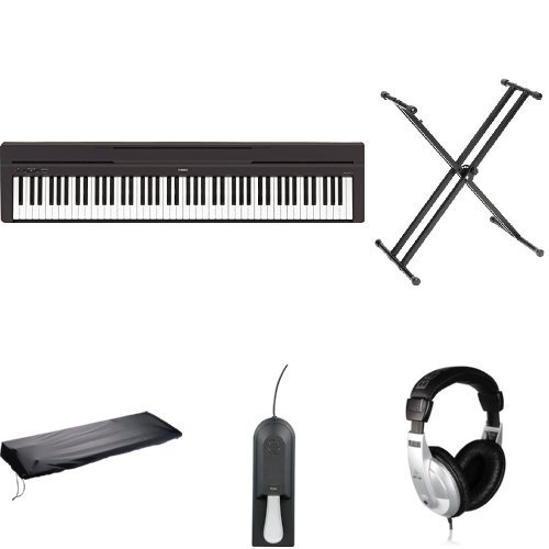 Yamaha P45B Digital Piano with Keyboard Cover, Headphones, and Yamaha Stand, Bench, and Pedal