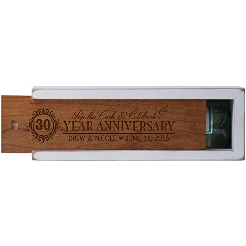 Personalized 30th year anniversary gift wood wine box Custom engraved gift for husband wife boyfriend or girlfriend Exclusively by American Wine Krafts (White Box with Cherry Lid)