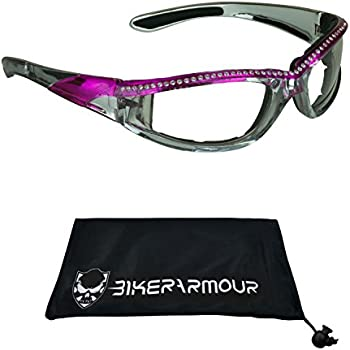 427abe761d95 Chrome and Pink Frame Motorcycle Safety Glasses with Rhinestones Foam  Padded for Women