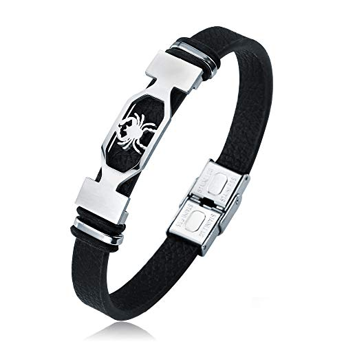 Liujun Mens Bracelets Fashion 12 Zodiac Signs Constellations Stainless Steel Personality Vintage Punk Black Leather Bracelets for Men Women (Cancer)