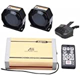 AS 2X100W Police Siren Kit AS830E2-SPK0022 5-Piece Pack 20 Tonew with Siren Box Speaker Dual Wireless Remotes Microphone Can Play Custom-made MP3 Sounds