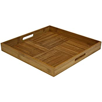 """Simply Bamboo Square Ottoman Serving Tray, 17"""" L x 17"""" W, Natural Bamboo"""