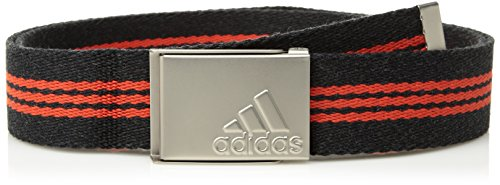 adidas Golf Stripe Webbing Belt, Black Heather/Core Red, One Size (Belt Stripe Webbing)