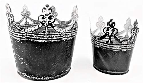 Silvercloud Trading Co. Tin Crown Vase, Votive Holder, Dish, Container - Set of Two(2) - Small & Large - Distressed Graphite & White