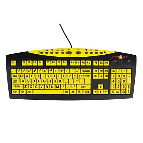 Keys-U-See Large Print USB Wired Computer Keyboard (Yellow Keys with Black Letters) Great for Visually Impaired Individuals - Senior Citizens in Low and Dim Lighted Areas - Seniors with Poor Vision ()