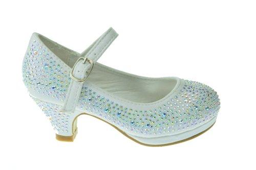 Link Girls Kids Dana-53K Rhinestone Heel Platform Dress Pumps,White,2