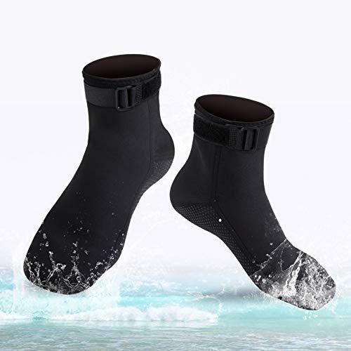 ReHaffe Neoprene Diving Socks, 3mm Neoprene Booties Women Anti Slip Flexible Cold Water Socks Keep Warm Unisex for Women Younth Children Snorkling Diving Scuba Swimming Surfing and Beach Water Sports