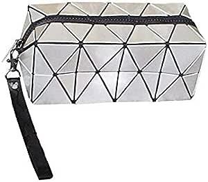 Geometric Lattice Cosmetic Bag Foldable Wallet Makeup Bag Zipper Purse-white