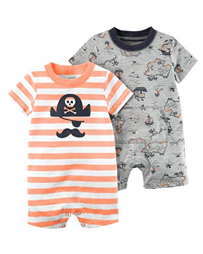 (Carter's Baby Boys' 2-Pack Pirate Rompers - Orange, Grey (Pirate, 9 Months))