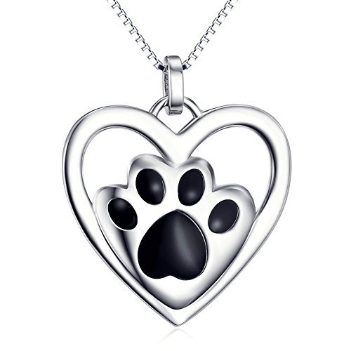 (S925 Sterling Silver Puppy Dog Cat Pet Paw Print Love Heart Pendant Necklace 18