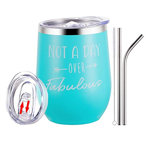Not a Day Over Fabulous Wine Tumbler - Funny Birthday Gifts for Women - Perfect Wine Gifts for Christmas, Mother's Day, Valentine's Day for Women, Wife, Mother, Her, Female - 12oz (Best Valentines Day Sayings For Her)