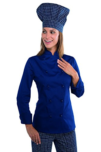 S Bianco Bottoni Cotone m² Isacco Tessuto Antipanico Gr 26067 Chef 100 Lunga Manica 190 Blu Giacca Lady tItqHp