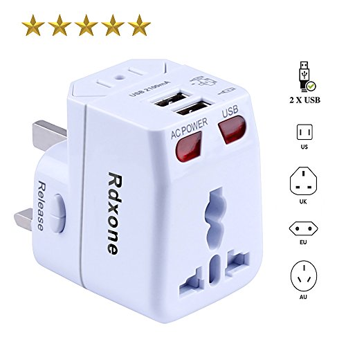 Rdxone Universal World Travel Adapter with 2 USB- Europe, Italy, Ireland, UK, US Plug Adapter- Over 150 Countries& Travel Power Converter Adapter Wall Charger Plug Kit for iPhone, Android (White) Photo #1