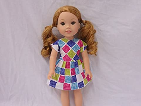 Dress with Geometrics Pattern, Fits 14 inch Doll such as Wellie Wisher or Hearts for Hearts (Dresses With Geometric Pattern)
