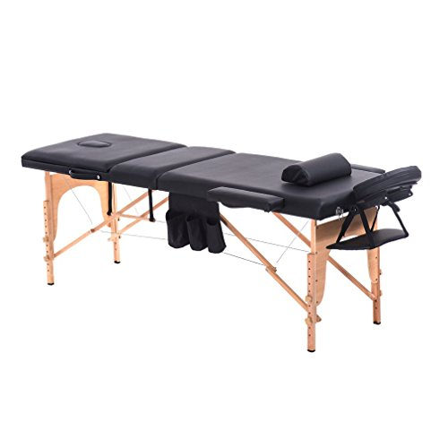 Homgrace Portable Massage Table 3 Fold Hardwood Frame for Facial SPA Bed/SPA Therapy/Beauty Salon (black 73in)